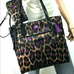 COACH Ocelot Animal Print Tote & Matching Case